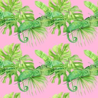 熱帯の葉とカメレオンの水彩イラストのシームレスなパターン。