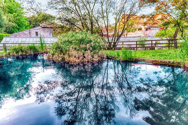 イタリア、ローマの公園内の牧歌的な池