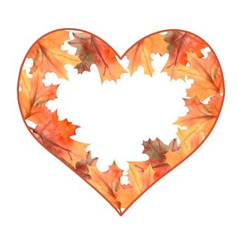 Осенняя рамка из листьев в форме сердца