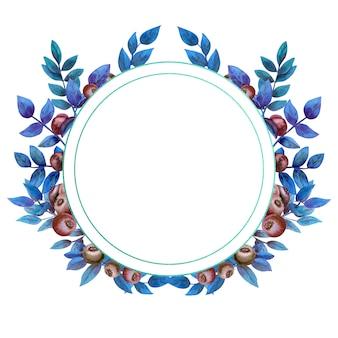Круглая рамка со спелой черникой на белом фоне