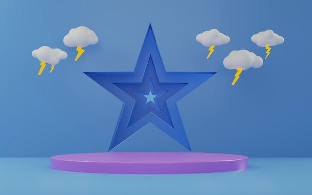 製品展示台と雷雨飾り