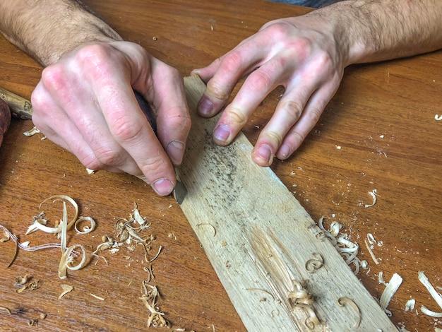 大工は自分の仕事、木材加工を手でやっています。