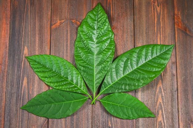 アボカドの緑の葉は大麻の形で茶色の木製のテーブルの上にあります。上面図。