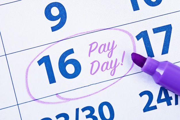 単語給料日のマーカー円のカレンダー