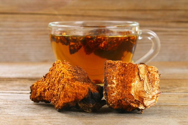 Целебный чай из березового гриба чага используется в народной медицине.