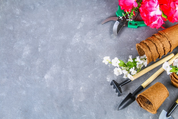 園芸工具および灰色のコンクリート背景の上の鉢。上面図、スペースをコピーします。