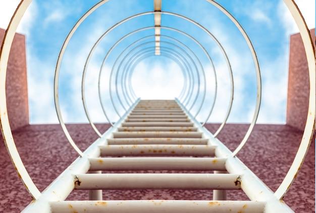 高層ビルの空への階段ステップ