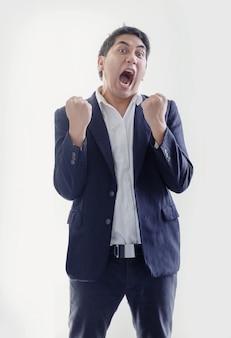 Умный азиатский бизнесмен в голубой деловой форме тона