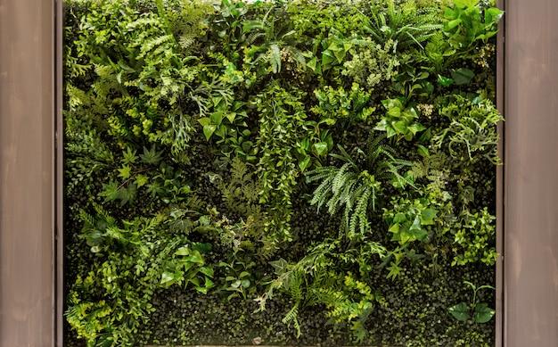 背景の垂直の緑豊かな庭園
