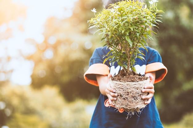 アジアの子供の女の子は、世界の概念を保存するように土壌に植える準備のための若い木を保持