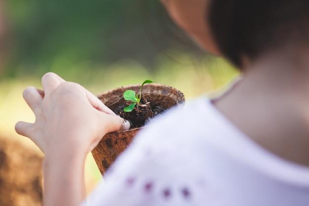 Рука ребенка посадки молодых саженцев в рециркуляции волокна горшки в саду