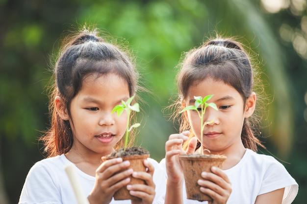 Две азиатские девочки держат молодое дерево для посадки в горшках из переработанного волокна вместе в саду