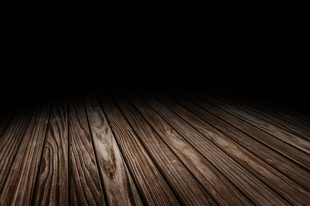 暗い板の古い木の床のテクスチャの視点の背景