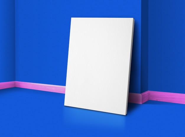 壁と床の背景を持つ角鮮やかな青とピンクのトリムスタジオルームで空白のポスター
