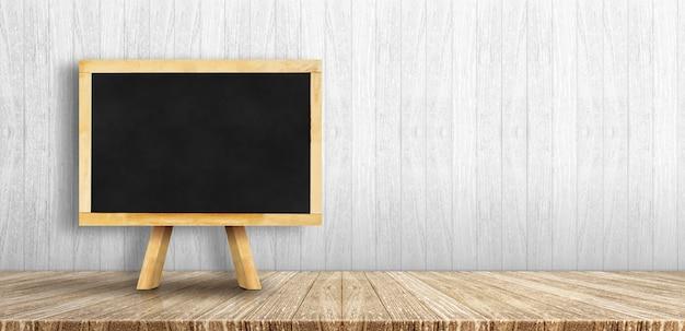 Меню классн классного с мольбертом на деревянном столе с белой деревянной стеной