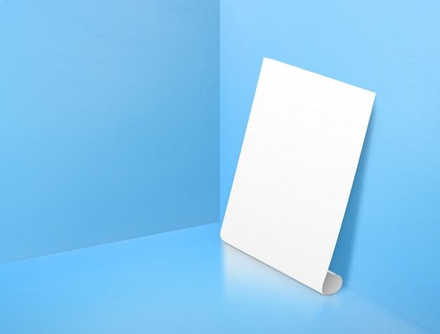コーナーで空白の白いローリングポスター塗装パステルブルーカラースタジオルームの背景