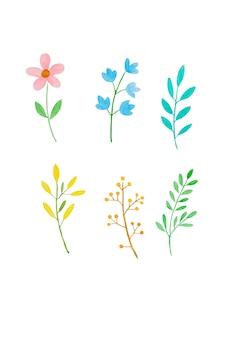 水彩イラストアートデザイン、春のカラフルな花と水彩で緑の葉のセット