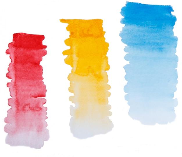 手描きの水彩グラデーションブラシストロークのセット