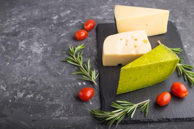 グリーンバジルチーズとローズマリーとトマトのチーズ各種