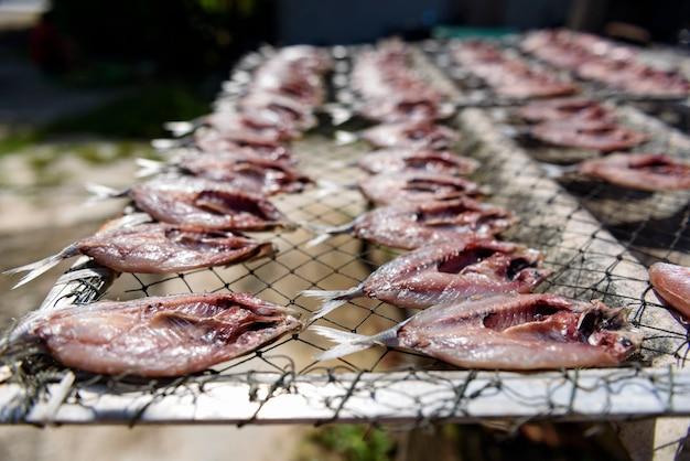 塩漬け魚、タイ市場で干し魚の食べ物