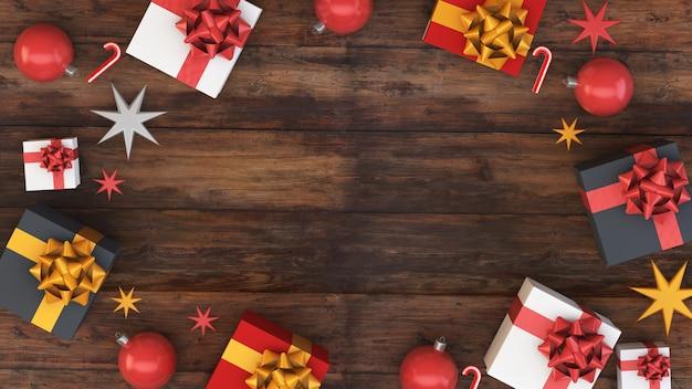 クリスマス木製の背景トップビュー