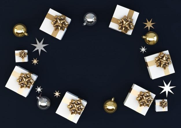 ブルー、ゴールド、ブルーのクリスマス組成