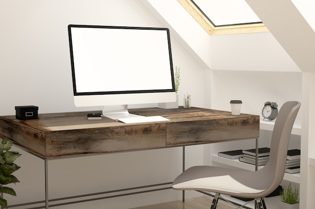 屋根裏部屋に白いスクリーンコンピューター。