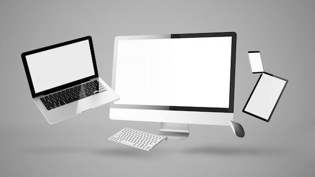 Плавающие устройства, показывающие умный адаптивный дизайн сайта