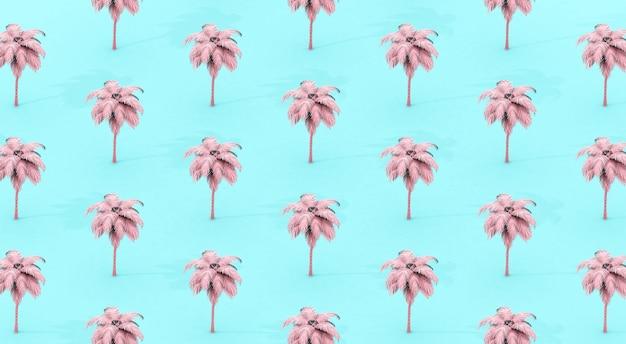 ピンクとブルーのヤシの木