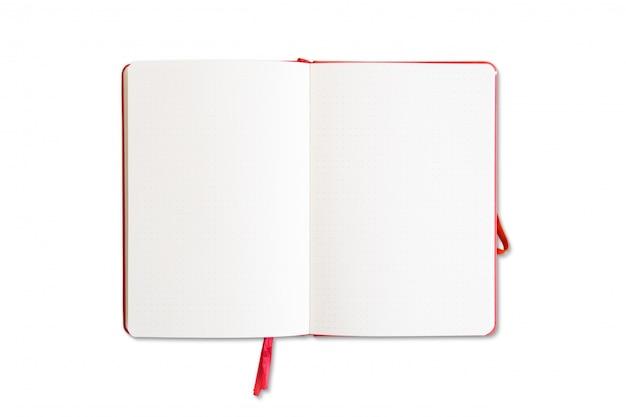 分離された赤いノートブックを開く