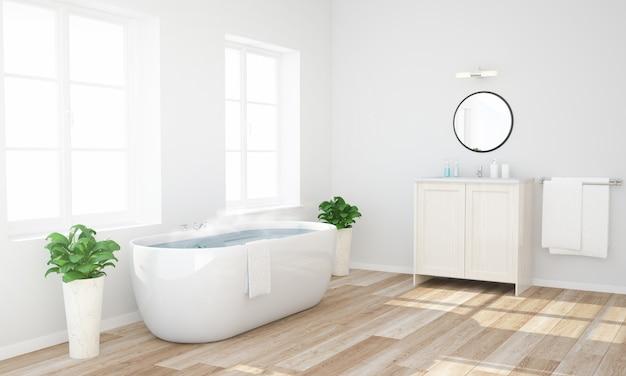 温かい水を浴室に持っていて準備ができているバスルーム