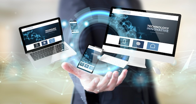 デジタル技術革新的なウェブサイトを持ったビジネスマン