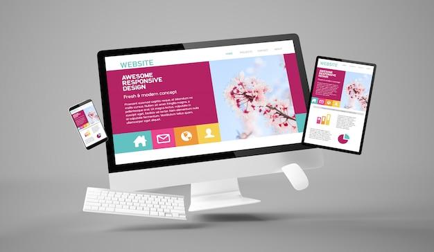 素晴らしいレスポンシブウェブサイトを示すコンピューター、タブレット、スマートフォンの重力