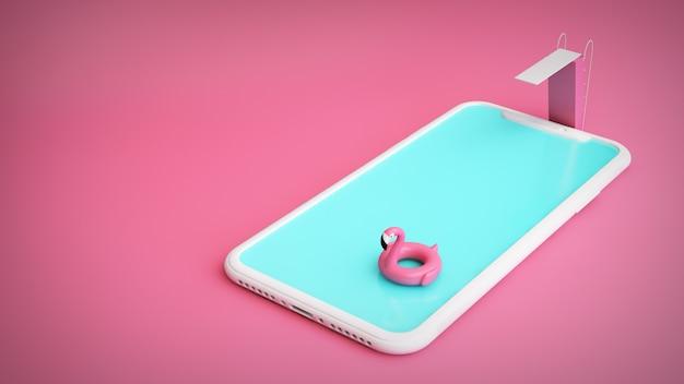 Розовый бассейн смартфон