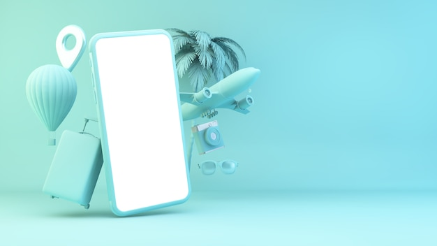 Концепция путешествия синий смартфон