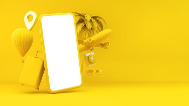 Концепция путешествия желтый смартфон