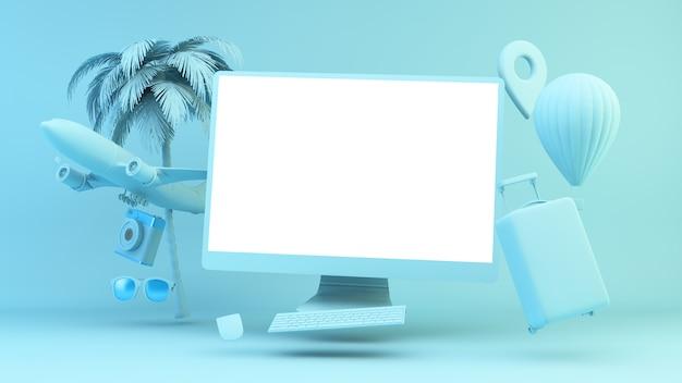 Синий плавающий компьютер в окружении путешествующих объектов