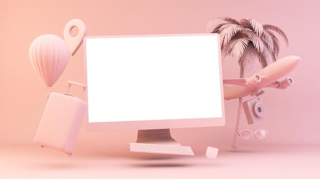 移動するオブジェクトに囲まれたピンクのフローティングコンピューター