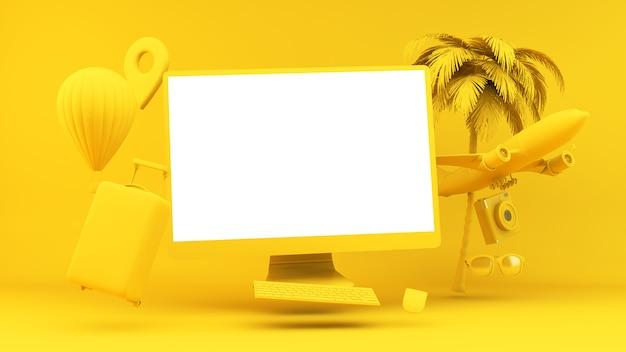 移動するオブジェクトに囲まれた黄色のフローティングコンピューター