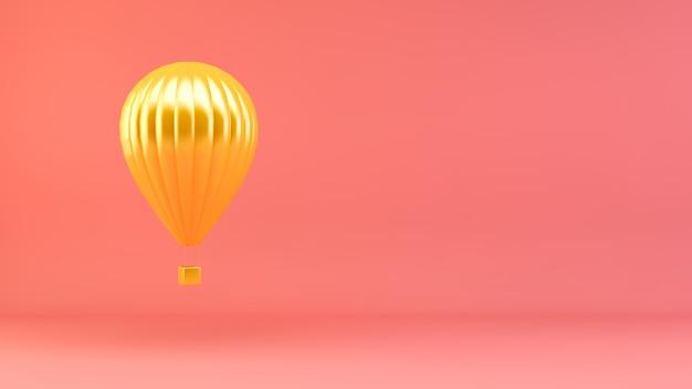 ピンクの背景の金色の熱気球