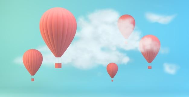 空に熱いピンクの気球
