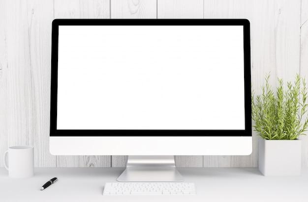 Белое рабочее пространство с компьютером
