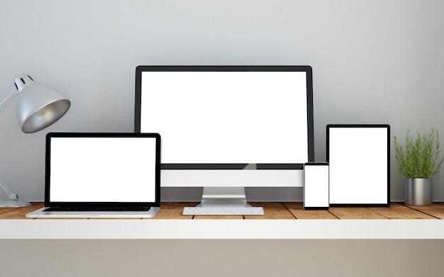 レスポンシブデザイン空白の画面のウェブサイトがデバイス上の職場