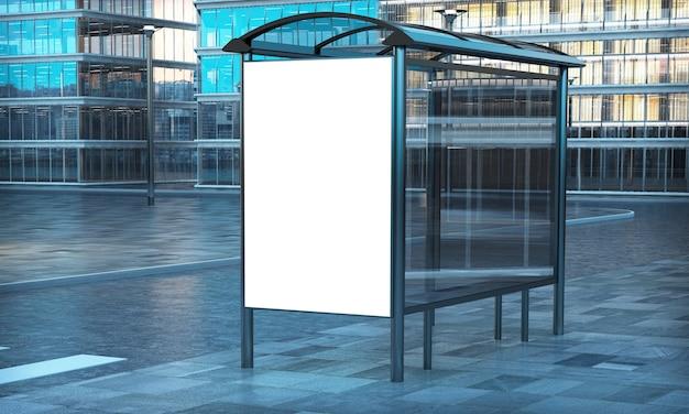 Рекламный белый шаблон на автобусной остановке
