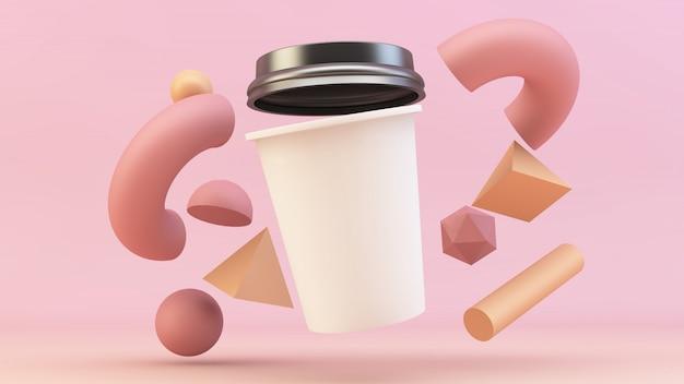 Плавающая кофейная чашка с примитивами