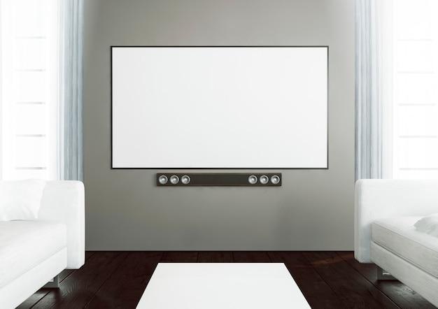 スマートテレビ付きの木製のリビングルーム