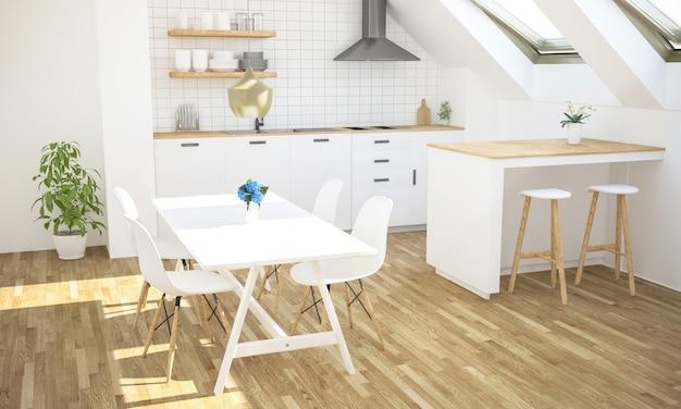 屋根裏部屋の最小限の豪華なキッチン