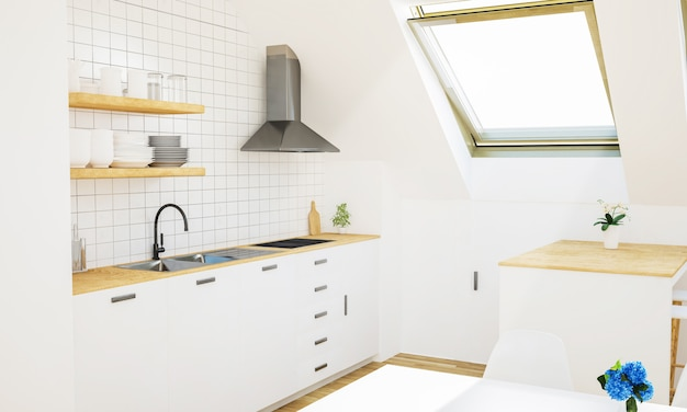 屋根裏部屋の最小限の白いキッチン