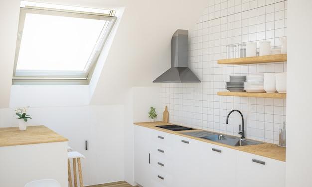 屋根裏部屋のキッチン