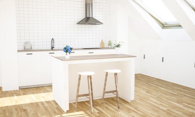 屋根裏部屋の明るい高級キッチン